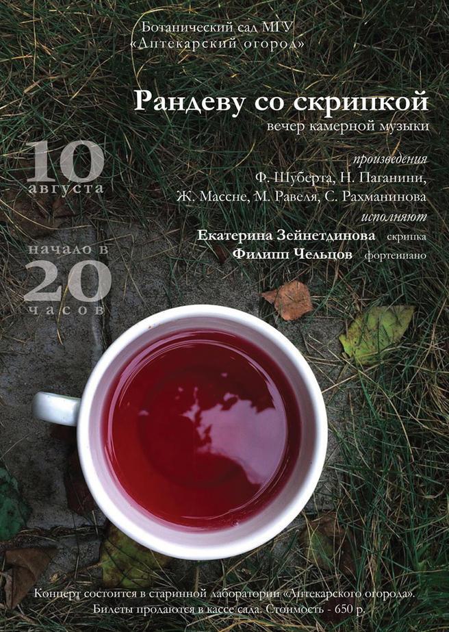 Праздничный вечер камерной музыки «Рандеву со скрипкой» пройдёт 10 августа в «Аптекарском огороде»