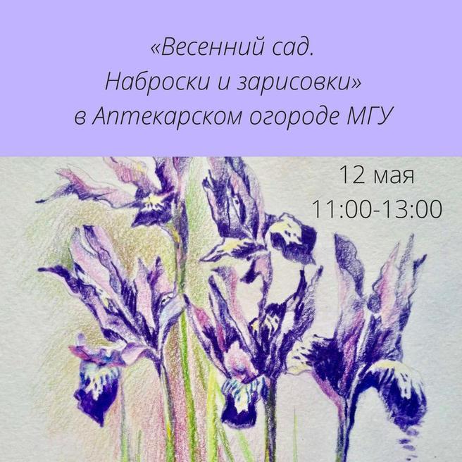 12 мая — бесплатный мастер-класс по рисованию «Весенний сад. Наброски и зарисовки» в «Аптекарском огороде»
